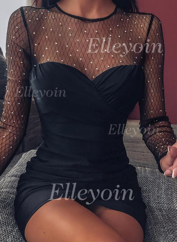 Solid/Beaded Long Sleeves Bodycon Above Knee Little Black/Sexy/Party Dresses