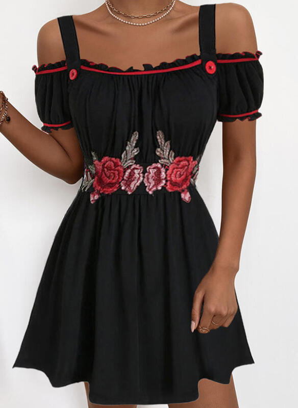 Embroidery/Floral Short Sleeves A-line Above Knee Casual/Vacation Skater Dresses