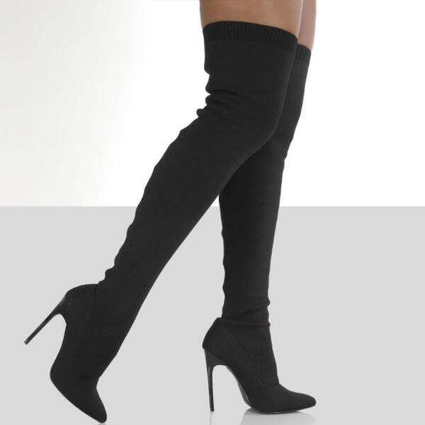 Women's Suede Stiletto Heel Over The Knee Boots With Solid Color shoes