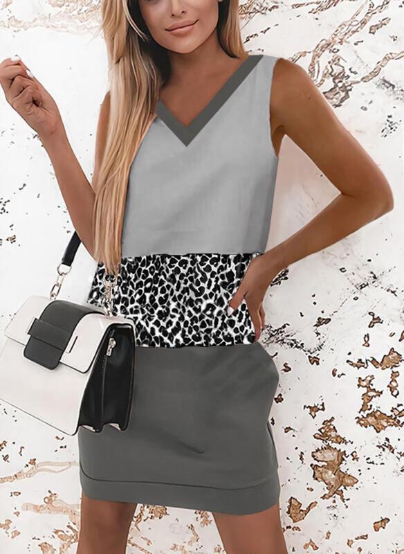 Color Block/Leopard Sleeveless Shift Above Knee Elegant Dresses