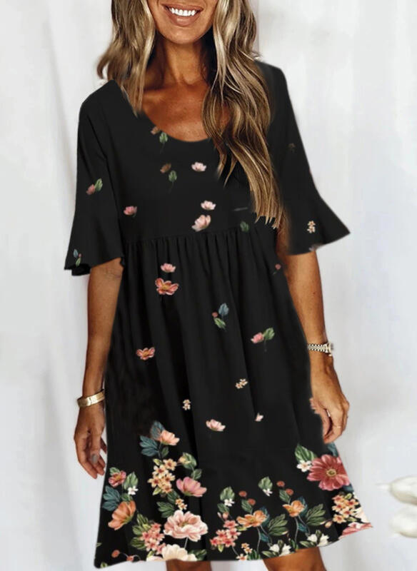 Print/Floral 1/2 Sleeves Shift Knee Length Casual Tunic Dresses