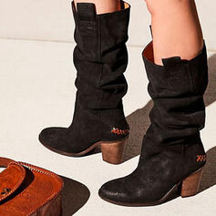 Women's PU Chunky Heel Boots Mid-Calf Boots Round Toe With Solid Color shoes