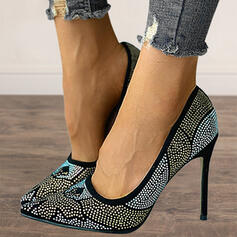 Women's PU Stiletto Heel Pumps Closed Toe Heels Pointed Toe With Rhinestone shoes