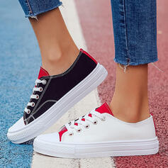 Women's Canvas Flat Heel Flats Low Top Round Toe With Lace-up Splice Color shoes