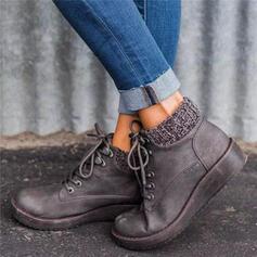 De mujer PU Tacón plano Planos con Cordones Color de empalme zapatos
