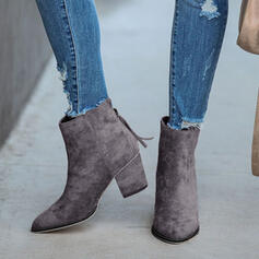 Women's Suede Chunky Heel Ankle Boots With Zipper Solid Color shoes