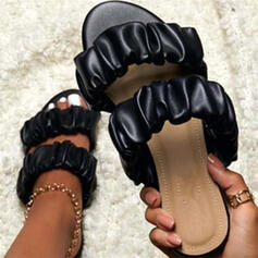 De mujer Cuero Tacón plano Sandalias Encaje con Color sólido zapatos