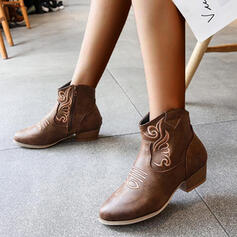 Women's PU Chunky Heel Boots Ankle Boots With Embroidery shoes