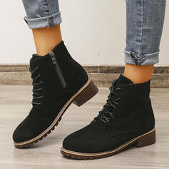 Women's Suede Chunky Heel Boots Ankle Boots With Lace-up Solid Color shoes