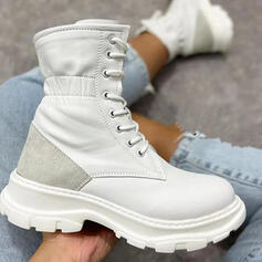 Women's PU Platform Martin Boots With Lace-up Splice Color shoes