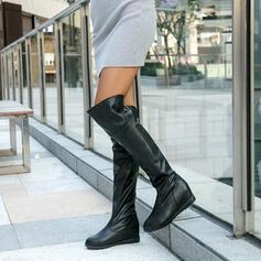 De mujer PU Tacón ancho Botas Botas sobre la rodilla Encaje con Cremallera Color sólido zapatos