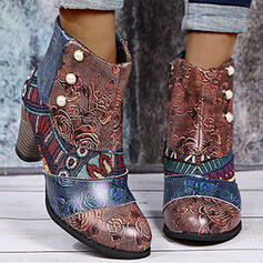 Women's PU Chunky Heel Boots With Imitation Pearl Zipper Floral shoes