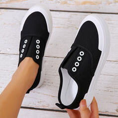 Women's PU Flat Heel Flats Round Toe Espadrille Sneakers With Solid Color shoes