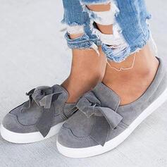 De mujer Ante Tacón plano Planos con Bowknot Color sólido zapatos