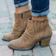 De mujer PU Tacón ancho Botas Martin botas Encaje con Rivet Cremallera zapatos