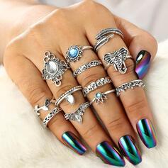 Boho Pretty Alloy With Rhinestone Women's Ladies' Rings (Set of 12)