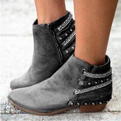 De mujer Ante Tacón ancho Botas al tobillo Dedo del pie puntiagudo con Rhinestone Cremallera zapatos