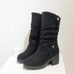 De mujer PU Tacón ancho Botas Botas de nieve Encaje con Color de empalme Color sólido zapatos