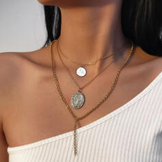 Fashionable Vintage Classic Alloy With Gold Plated Women's Ladies' Necklaces 3 PCS