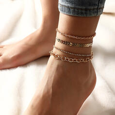 Vintage Simple Layered Alloy Women's Ladies' Anklets 4 PCS