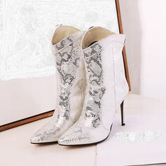 Women's PU Stiletto Heel Mid-Calf Boots Pointed Toe With Animal Print Zipper shoes