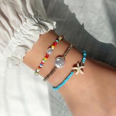 Attractive Delicate Starfish Design Adjustable Natural Stone Imitation Pearls Glass Women's Girl's Bracelets 3 PCS