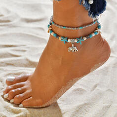 Boho Alloy Beads With Elephant Starfish Anklets (Set of 2)