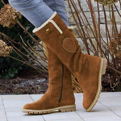 Women's PU Flat Heel Mid-Calf Boots Snow Boots Round Toe Winter Boots With Zipper Tassel shoes