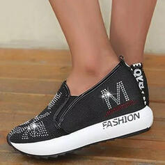 Women's PU Flat Heel Flats Round Toe With Rhinestone Splice Color shoes