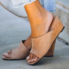 De mujer Ante Tipo de tacón Sandalias Cuñas Encaje Pantuflas con Color sólido zapatos