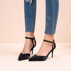 De mujer Tela Tacón stilettos Salón Dedo del pie puntiagudo con Lentejuelas Hebilla zapatos
