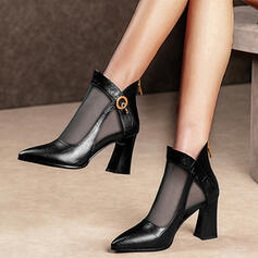 Women's PU Chunky Heel Ankle Boots Round Toe With Buckle Solid Color Breathable Lace shoes