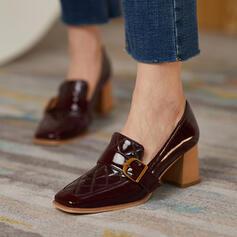 De mujer PU Tacón ancho Salón Punta cuadrada con Hebilla zapatos