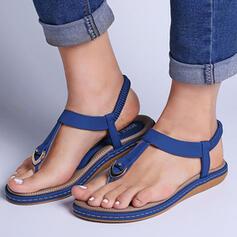 De mujer PU Tacón plano Sandalias Encaje Top bajo Anillo del dedo del pie con Agujereado Banda elástica Color sólido zapatos