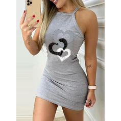 Print/Heart Sleeveless Bodycon Above Knee Casual/Vacation Dresses