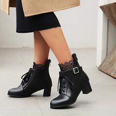 De mujer PU Tacón ancho Botas al tobillo Encaje con Cordones Color sólido zapatos