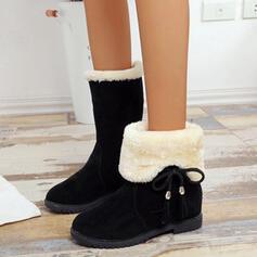 De mujer PU Tacón plano Botas Botas de nieve con Cordones Color sólido zapatos