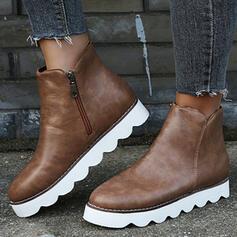 Women's PU Platform Flats Boots With Zipper Solid Color shoes