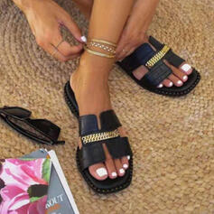 Women's PU Flat Heel Sandals Slippers With Chain Hollow-out shoes