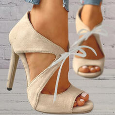 Women's Suede Stiletto Heel Sandals Pumps Peep Toe Heels With Lace-up Hollow-out Solid Color shoes