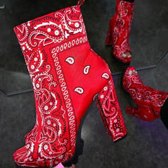 De mujer PU Tacón ancho Salón Dedo del pie puntiagudo con Estampado de animales Color de empalme zapatos