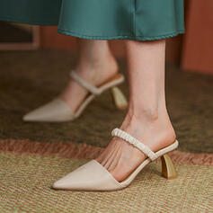 Women's PU Stiletto Heel Sandals Pumps Closed Toe Heels Pointed Toe With Hollow-out Solid Color shoes