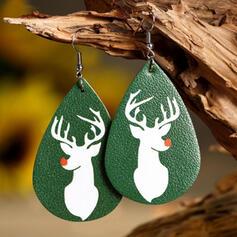 Drop Shape Christmas Reindeer Christmas Alloy PU Women's Earrings 2 PCS