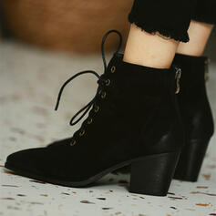 Women's Suede Chunky Heel Ankle Boots Pointed Toe With Lace-up shoes