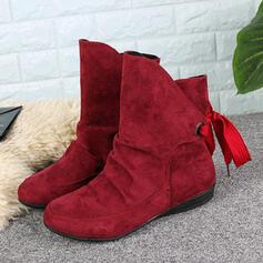 De mujer PU Tacón plano Botas longitud media Encaje con Cordones Color sólido zapatos