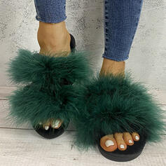 Women's Suede Flat Heel Peep Toe Slippers With Faux-Fur Splice Color shoes