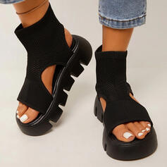 Women's Cloth Wedge Heel Sandals Peep Toe With Solid Color shoes