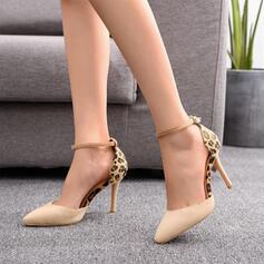 De mujer Ante Tacón stilettos Salón Dedo del pie puntiagudo con Hebilla zapatos