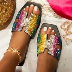 Women's PU Flat Heel Sandals Peep Toe Slippers With Rhinestone Sparkling Glitter shoes