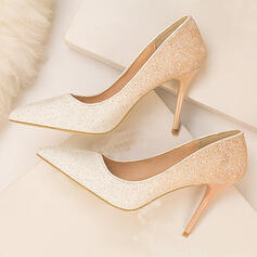 Women's PU Stiletto Heel Pumps Pointed Toe With Sparkling Glitter shoes
